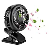 Beegoo Personal Clip on Fan USB Rechargeable Battery Powered Fan, 3 Speed Adjustable Portable Stroller Fan for Camping, office, kitchen, Baby Stroller or outdoor sports.