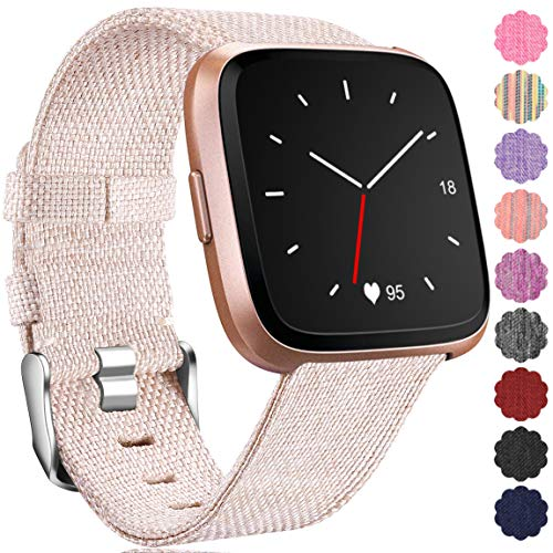 Maledan Replacement for Fitbit Versa Bands, Small, Beige