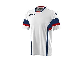 Camiseta Fútbol Manga Corta Strenght Hombre Macron, Hombre, Bianco / Rosso - Blu