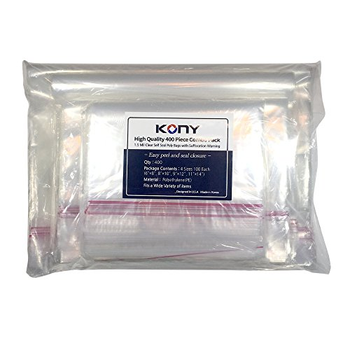 KONY 400 Poly Bags Combo Pack 6x9, 8x10, 9x12, 11x14 With Suffocation Warning : 4 Sizes. 100 Piece Each : Self Seal Strong Glue 1.5m mil - Easy Peel and Stick Clear