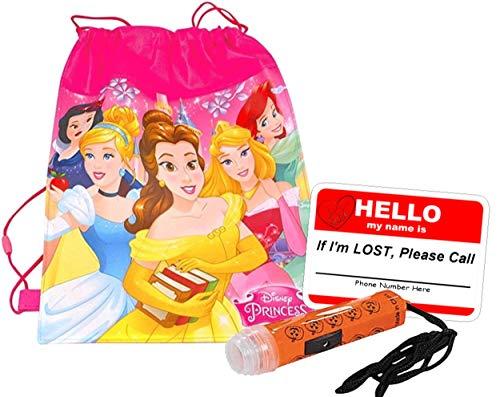 Disney Princess Inspired Girls Resuable Drawstring Halloween Trick Treat Loot Bag!! Plus Bonus Safety First Sticker & Mini Halloween Flashlight Necklace!