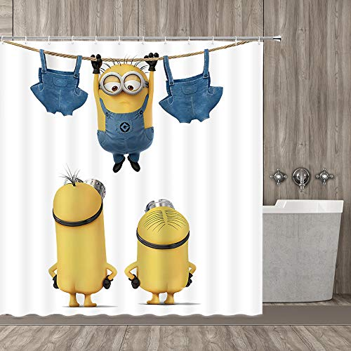 qianliansheji Home Decorative Shower Curtain with Free Hooks Three Naked Cartoon Figure on White Like Minions Cute and Funny Waterproof Polyester Fabric Bath Curtain with Size 70''X70''