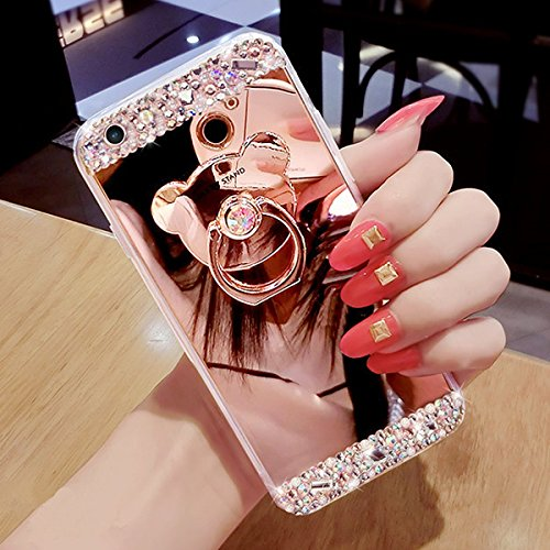 Funda Galaxy J5,Saincat TPU Silicona con Diseño 3D Carcasa Cute Bear Ring Stand Titular Caso Diamante Piedras de Brillo Bling Flores Espejo Funda Mirror Case con Ring Stand Holder Bumper Case Shockpro Oro rosa