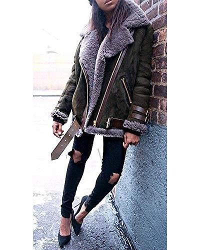 Biker Gracieux Veste D'hiver Longues Chaud Revers À Femmes Manches Zixing Veste Manteau Gris Épaissir Détendu Survêtement 7nqw4ZE8