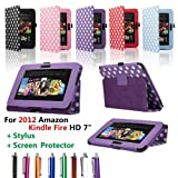 SAVFY� Kindle Fire HD Stylish Polka Dots Leather Case Cover Multi-Function Flip Pouch with Auto Wake and Sleep, includes Bonus: Screen Protector and Touch Stylus Pen - Multi-Colours Available (ONLY for New Kindle Fire HD, Oct.25 2012 Release) (Polka Dots, Black)by SAVFY