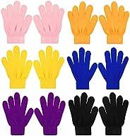 Qkurt 6 Pack of Kid's Gloves, Full Finger Magic Gloves Fit for Age 5~13 Years Old Boys G