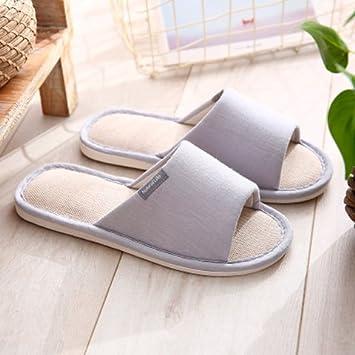 Pantuflas para suelos interiores femeninas japonesas zapatillas ropa de verano casa de estancia con fondo blando antideslizante zapatillas, gris,42-43 Código [para 41-42 Calzado-: Amazon.es: Hogar
