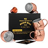 Set of 4 Moscow Mule Copper Mugs with Stainless Steel Lining in Gift Box :: Four 16 Oz. Handcrafted Copper Cups :: Set of 4 Lined Copper Mugs :: Moscow Mule Gift Set :: Double Wall Copper Mugs Set