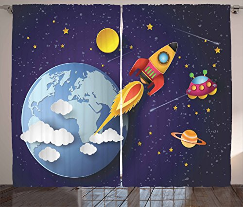 "Ambesonne Outer Space Curtains, Rocket on Planetary System with Earth Stars UFO Saturn Sun Galaxy Boys Print, Living Room Bedroom Window Drapes 2 Panel Set, 108"" X 84"", Indigo White"