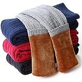 DCOIKO Girls Pants Velvet Skinny Warm Thick Leggings Fleece Lined Elastic Waist Knitting Trousers (Size 100, Blue 2#)
