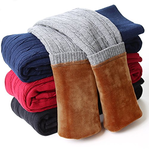 DCOIKO Girls Pants Velvet Skinny Warm Thick Leggings Fleece Lined Elastic Waist Knitting Trousers (Size 130, Black (Black Velvet Trousers)