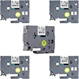 TZe-221 Label Tape, LaBold 5 Pack Black on White Standard Laminated Label Tape Cartridge 0.35'' X 26.2'(9mm x 8m) Compatible for Brother P-touch TZ TZe 221 TZ-221 TZe-221