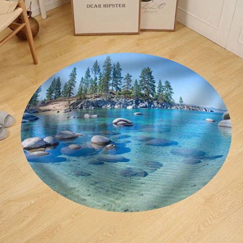 Gzhihine Custom round floor mat Beautiful Blue Clear Water On The Shore Of The Lake - Lake Tahoe Outlets