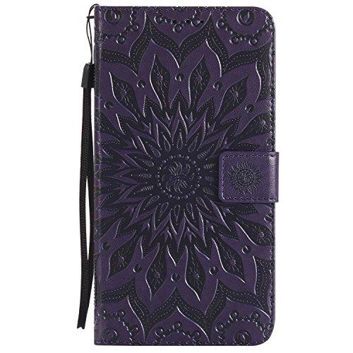 Funda Redmi Note 5, SsHhUu Funda PU Piel Genuino Carcasa en Folio [Ranuras para Tarjetas] [Cierre Magnetico] con Lápiz óptico + Acollador para Xiaomi Redmi Note 5 / Y1 / Note 5A (5.5) Púrpura Púrpura
