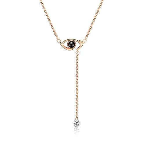 454784a33867 Collar con colgante Houlife I Love You con forma de ojo de cobre en 100  idiomas