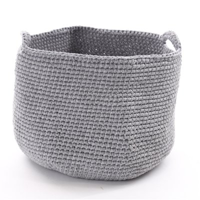Organic Handknit Basket - Crocheted Tote - Grey