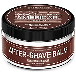 Sandalwood Barbershop After Shave Balm For Men by American Shaving Co. - 4 Full Ounces - 100% Natural Moisturizing Lotion - Best Cream to Refresh, Soothe, and Hydrate Dry Skin Post Shave