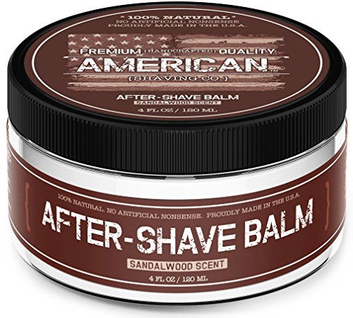 American Shaving After Shave Balm For Men (4oz) - Sandalwood Barbershop Scent - 100% Natural Moisturizing Aftershave Lotion - Best Aftershave For Men to Soothe & Hydrate Dry Sensitive Skin Post Shave