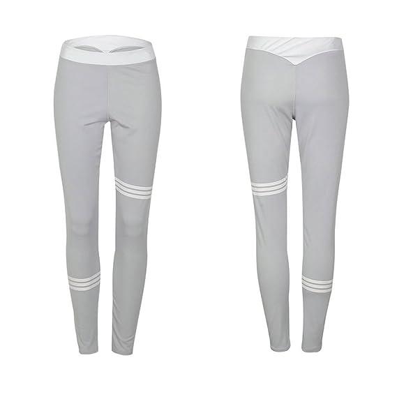 ... Moda Slim Fit Skinny Pantalon a Rayas Cómodo Cintura Elástica Casual Pantalones para Yoga Aptitud Corriendo Deportes: Amazon.es: Ropa y accesorios
