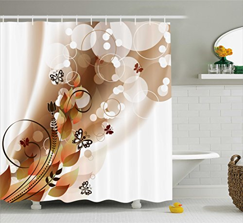 Ambesonne Tan Shower Curtain, Spring Themed Abstraction Cute Butterflies Flower Petals and Tulip Leaves, Fabric Bathroom Decor Set with Hooks, 84 Inches Extra Long, Brown White ()
