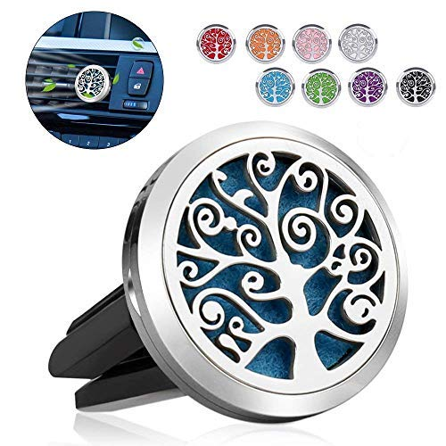Romanda Car Diffuser,Car Aromatherapy Essential Oil Car Vent Clip Air Freshener Purifier,Stainless Steel Car Aroma Diffuser Locket with 8 Washable Color Pads
