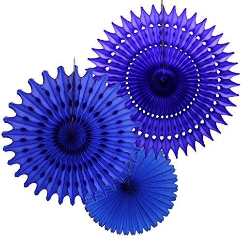 Set of 3 Tissue Paper Fans, Dark Blue (13-21 Inch)