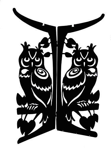Tierra Garden 4-1815 Owls Lasercut Metal Birdbath Bowl Base with Black Matte Finish