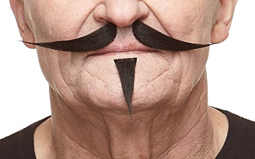 Mustaches Self Adhesive, Novelty, Gentleman Fake Mustache and Soul Patch, False Facial Hair, Costume Accessory for Adults, Black -