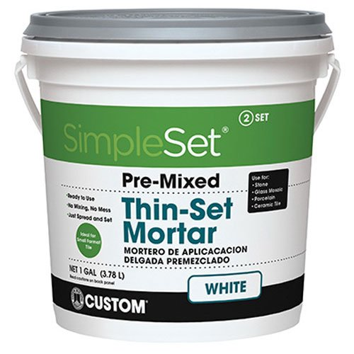 Custom STTSW1 1-Gallon SimpleSet Premium Thin-Set Mortar, White (Best Thinset For Glass Tile)