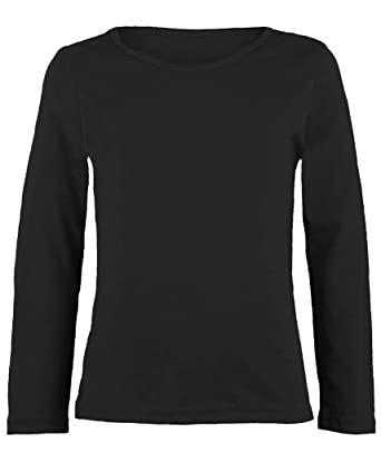 e8c1cb30 Amazon.com: Kids Boys Girls Basic Crew Neck Plain Cotton Long Sleeve T-Shirt  Tops Uniform Tee(3215): Clothing