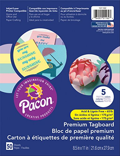 Pacon Premium Tagboard Paper, 50-Count, Pastel Assorted, 5 Colors -