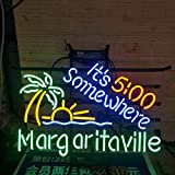 Margaritavile It's 5:00 Somewhere Metal Frame Neon Sign 17''x14'' Real Glass Neon Sign Light for Beer Bar Pub Garage Room.