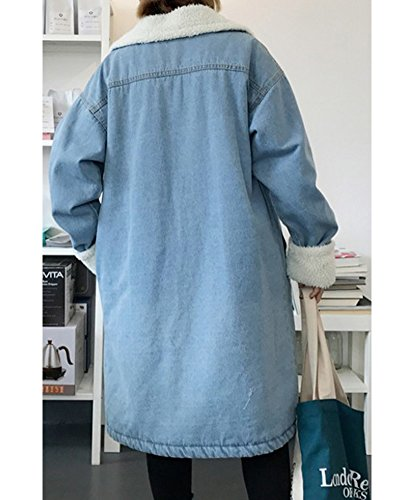 Outerwear Jeans Cappotti Jacket Manica Giacca Blu Allineato Lunga Donna Denim Chiaro Spesso 8qxYRYz