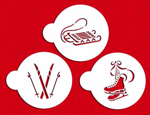 Designer Stencils C583 Winter Sport Cookie Stencils, (Sled, Ice Skates and Skis), Beige/semi-transparent by Designer Stencils
