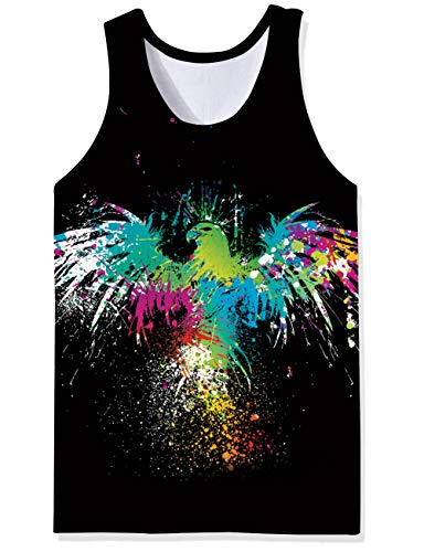 Freshhoodies Mens Graphic Tank Tops Black Beach Tropical Workout Tank Shirts Tie Dye Paint Graffic Bird Designer Rave Novelty Sleeveless Tee Shirts for Man Male Gay Guy Dude, ()