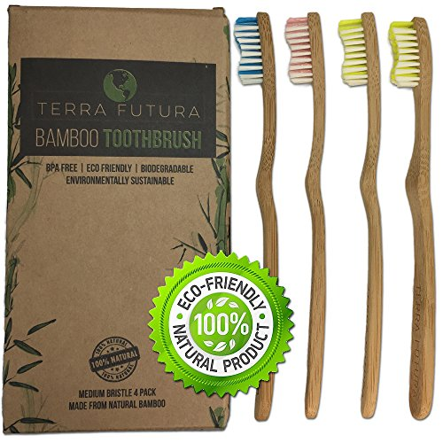 Bamboo Toothbrush New Ergonomic Design Eco Friendly Multi-Color BPA free Wavy Bristles, All Natural Biodegradable and Environmentally Sustainable. Eco Compostable & Organic Toothbrush Family 4 Pack