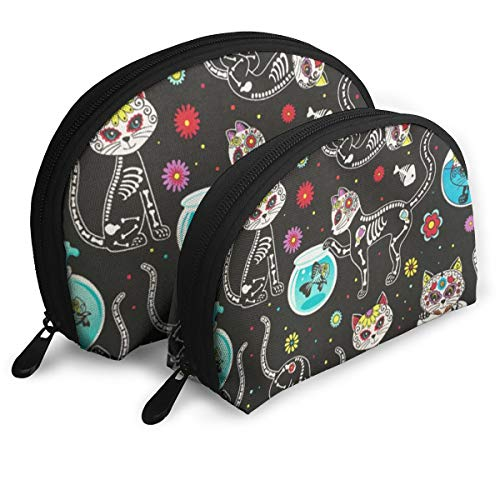 XINLLPO Sugar Skulls Cats Portable Cosmetic Bag,Toiletry Bag,Mini Travel Cosmetic Bag,Portable Waterproof Makeup Pouch Tote Organizer Bag for Women Girls ()