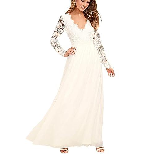87e3cd4951 Mujer Encaje Mangas Largas V Cuello Elegante Vestidos Largos Novia Bodas