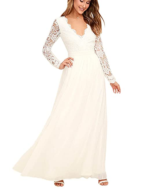 PengGeng Mujer Encaje Mangas Largas V Cuello Elegante Vestidos Largos Novia Bodas Blanco L