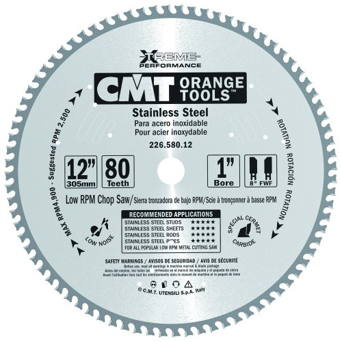 CMT 226.580.12 Stainless Steel Saw Blade with 12-Inch by 80 Teeth 8-Degree FWF and 1-Inch Bore