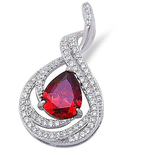 Fancy Teardrop Pendant Pear Shape Simulated Red Garnet Round Pave Cubic Zirconia 925 Sterling (Fancy Garnet Sterling Silver Pendant)