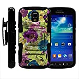 S4 Active Case, S4 Active Holster, Two Layer Hybrid Armor Hard Cover with Built in Kickstand for Samsung Galaxy S4 IV Active I9295, SGH-I537 (AT&T) from MINITURTLE | Includes Screen Protector - Yellow Purple Flowers