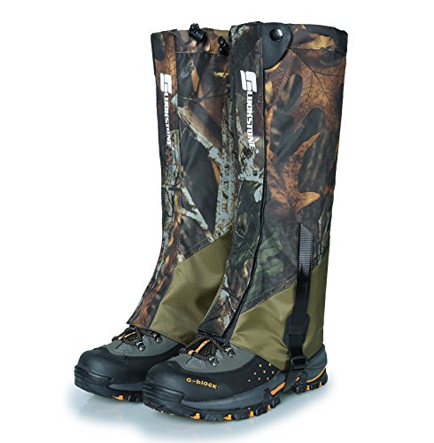 UNISTRENGH Outdoor Waterproof High Leg Gaiters Wear-Resistant Camouflage Snow Mountain Hiking Boot Gaiters Insect-Proof Protection Set Foot Leg Sleeve Cover (Maple Leaf Camo/Army Green) ()