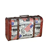 DinQ Giant Wooden Classical Suitcase Storage Antique Style Treasure Box (Flag, S)