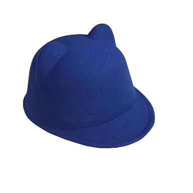 e75ab59fc59 ACVIP Enfant Fille Chapeau Visière Feutre Motif Oreille de Chat Casquette  Mignon Bonnet Hiver (Bleu