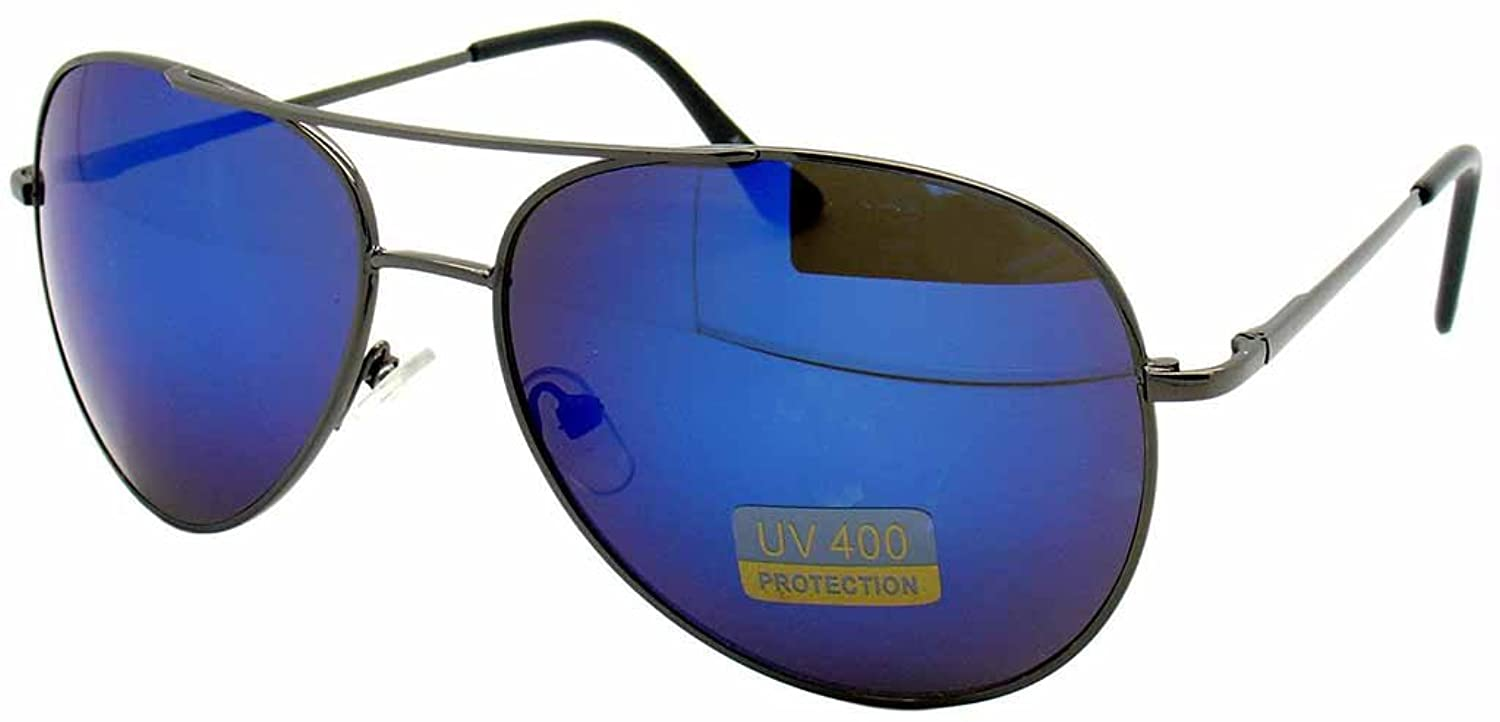 METAL FRAME COLOR REFLECTIVE MIRROR LENS AVIATOR PILOT STYLE SUNGLASSES SHADES-Gun Metal