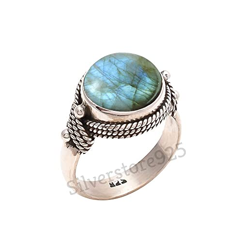 925 Sterling Silver Real Agate Gemstone Ring Size 5 14