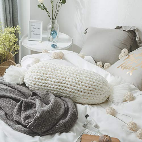 """famibay Cable Knitted Throw Pillow Candy Shape Hand Woven Knit Pillow with Insert Decorative Pillow Cushion for Home Sofa Couch Bed 35"""" x12"""" White"""