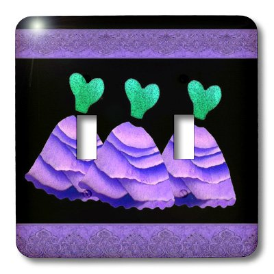 3dRose lsp_30156_2 Three Frilly Purple and Green Dresses with Coordinating Ribbons Double Toggle Switch