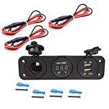 MotoCityTM 12V Auto Truck Vehicle Cigarette Lighter Socket Splitter Charger Panel Mount With Dual USB Plug Adapter (With Wire)